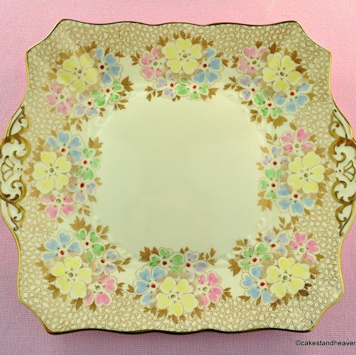 Tuscan Pale Cream and Gold Pastel Flowers Cake Plate c.1936+
