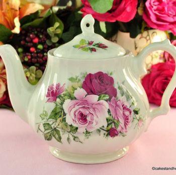 Sadler Pink Roses Vintage 1.75 Pint Ceramic Teapot