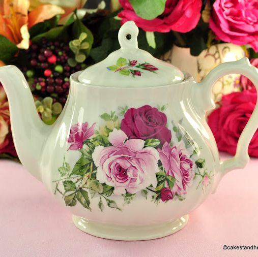Sadler Pink Roses Vintage ?? Pint Ceramic Teapot