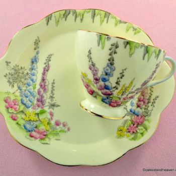 Foley China Cottage Garden Pattern Tennis Set - One Handed Teacup Trio c.1950s