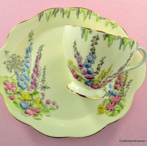 Foley China Cottage Garden Pattern Tennis Set - One Handed Teacup Trio c.19
