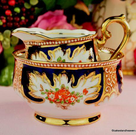 Royal Albert Crown China Royalty Vintage Milk & Sugar Set c.1932
