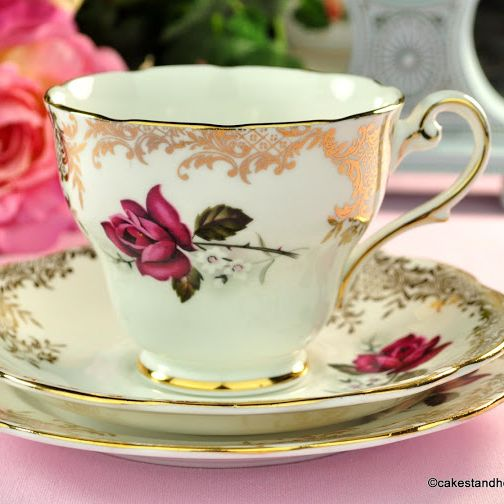 Royal Standard Red Rose with Gold Filigree Vintage Tea Cup Trio