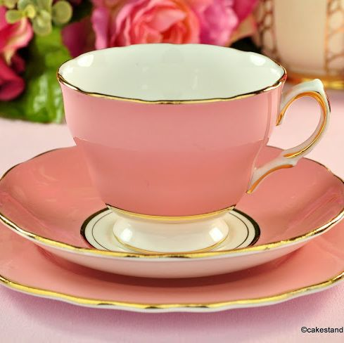 Colclough Salmon Pink Vintage Bone China Tea Cup Trio