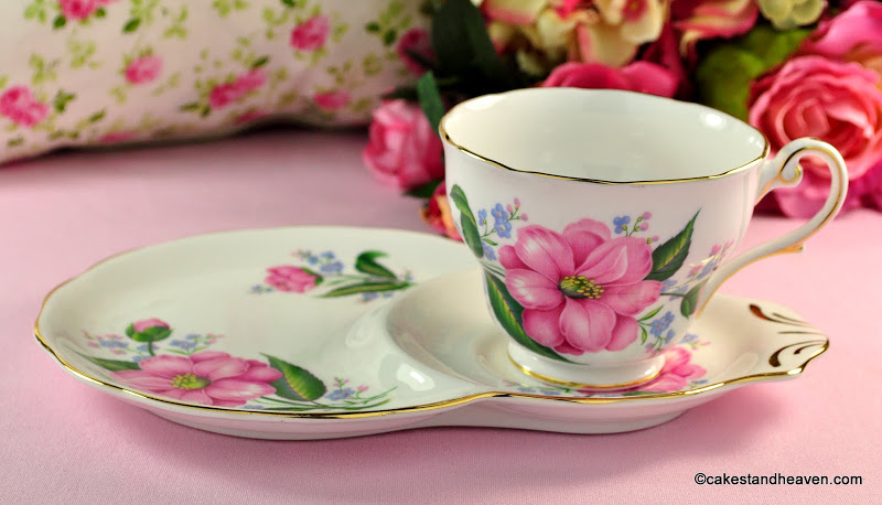 Royal Standard Pink Camellia Bone China Tea Cup Tennis Set c.1950s