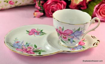 Royal Standard Lily Flowers Bone China Tea Cup Tennis Set c.1950s