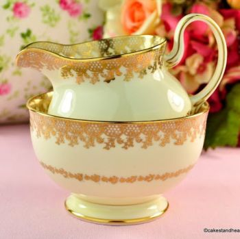 Collingwoods Cream and Gold Lace Vintage Jug and Sugar Bowl
