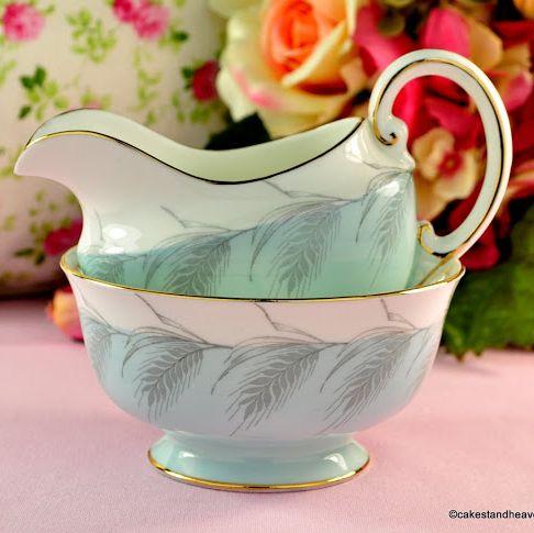 Aynsley Powder Blue Vintage Bone China Cream Jug and Sugar Bowl