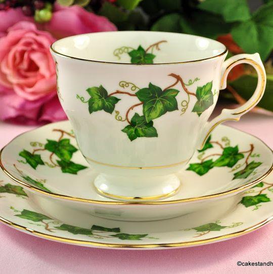Colclough Green Ivy Leaf Vintage China Teacup Trio c.1962+