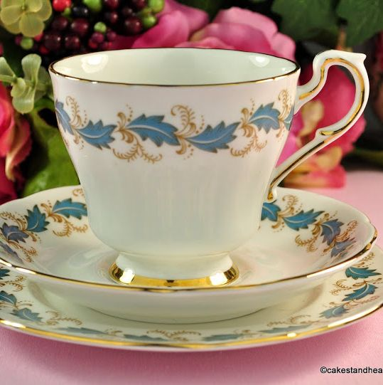 Paragon Affection Duck Egg Blue Vintage China Teacup Trio c.1957+