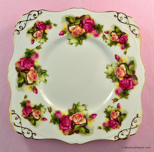 Royal Tuscan Pink and Yellow Roses Vintage Cake Plate