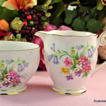 Queen Anne Old Country Spray Vintage Cream Jug and Sugar Bowl