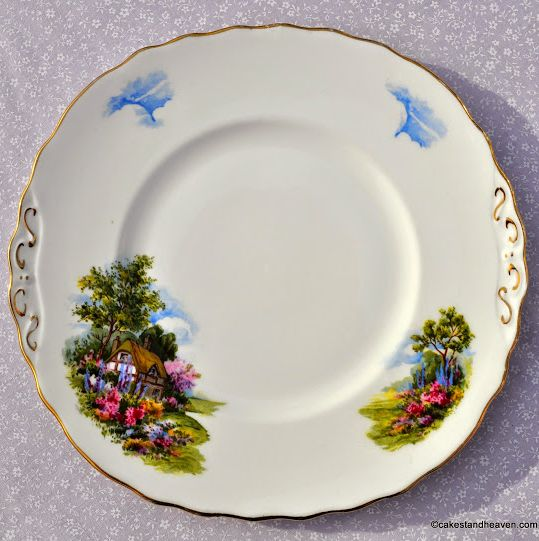 Royal Vale Homestead Vintage China Cake Plate c.1960s