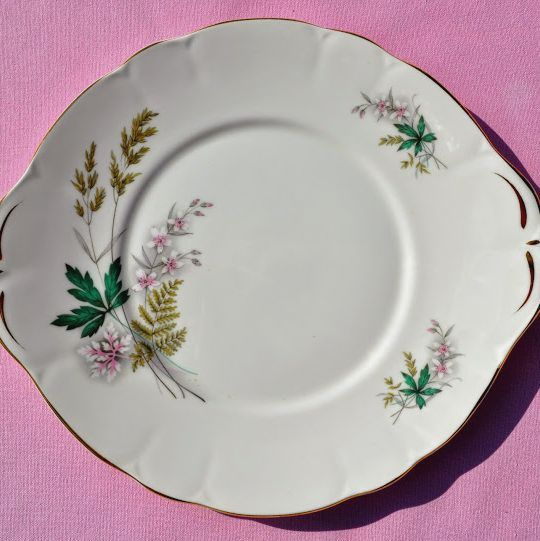 Duchess Louise Teal and Pink Vintage China Cake Plate c.1950s