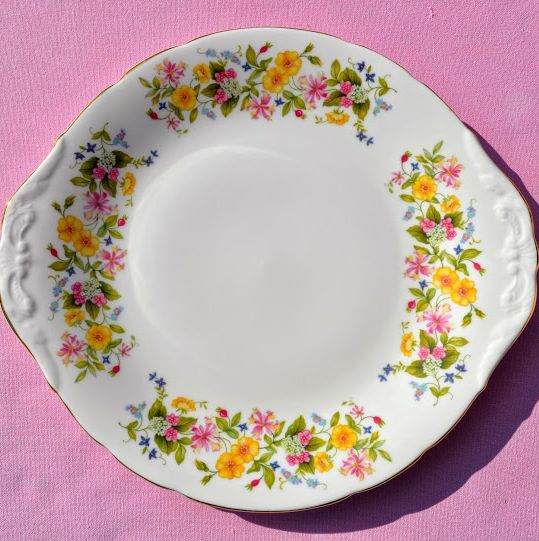 Colclough Hedgerow Pattern Vintage English Bone China Cake Plate c.1960's