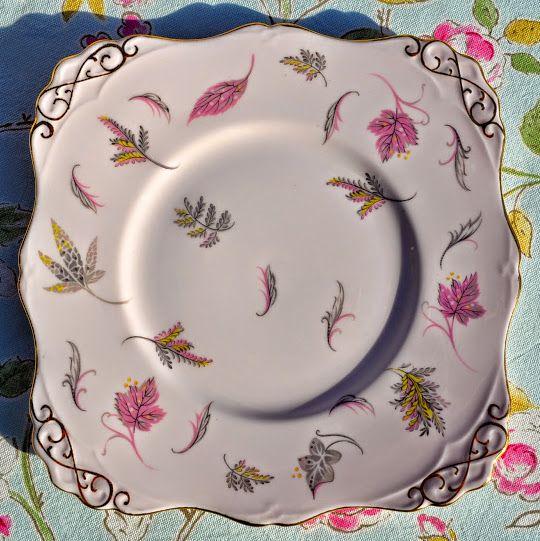 Tuscan Windswept Pink Vintage Bone China Cake Plate. c.1947+