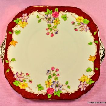 Stanley China Terracotta and Floral Cake Plate c.1949-53