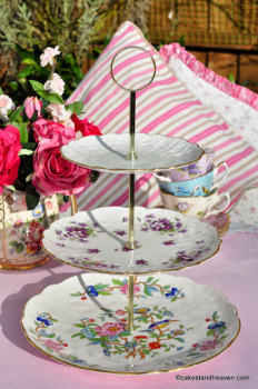 Aynsley Vintage Mismatched Floral China 3 Tier Cake Stand