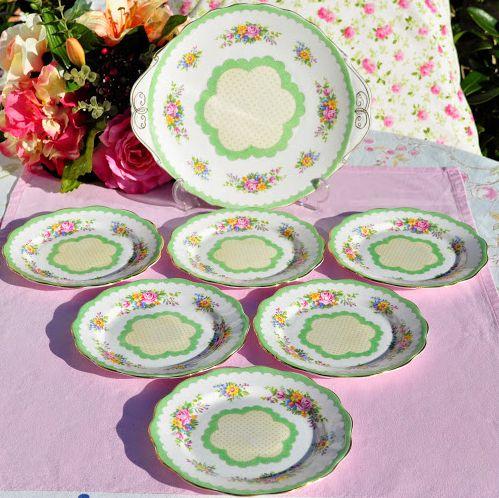Royal Albert Prudence 7 Piece Cake Plate Serving Set c.1927-35