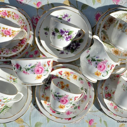 Duchess Vintage Bone China Mixed Tea Set for Six with Cake Plate