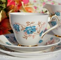 Windsor China Duck Egg Blue Roses Vintage Teacup Trio c.1960's