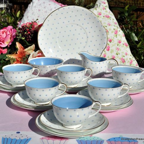Susie Cooper Retro 1950s Vintage Tea Set Blue and White with Little Stars