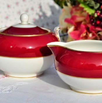 Wedgwood Burgundy Red Vintage China Milk Jug & Covered Sugar Bowl c.1950s