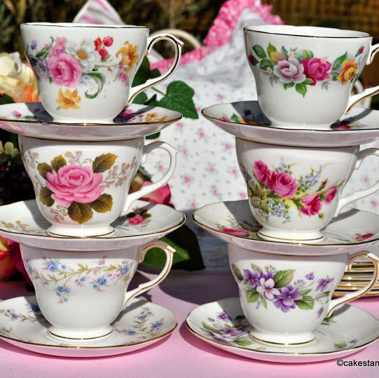Duchess Mixed Vintage Tea Cups, Saucers and Tea Plates Set of Six