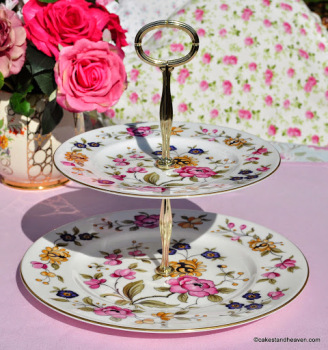 Coalport San Remo Vibrant Vintage Two-Tiered Cake Stand