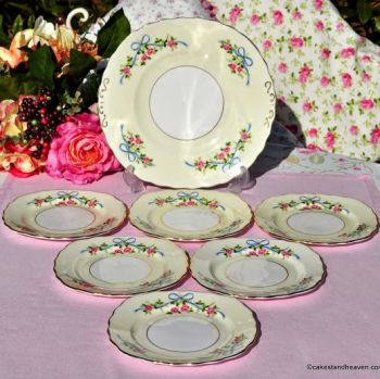 Colclough Blue Ribbons & Pink Roses 7 Piece Cake Serving Set