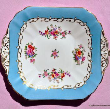Radfords Sky Blue & Floral Sprays Vintage Cake Plate c.1930s