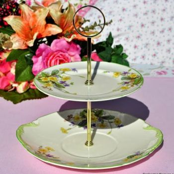 Royal Doulton April Primroses & Violets Vintage Bone China Cake Stand c.1939
