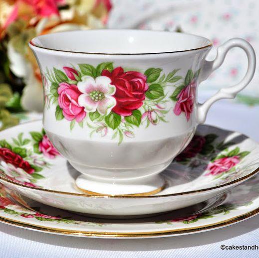 Royal Kent Pink Roses Pattern Vintage China Teacup Trio
