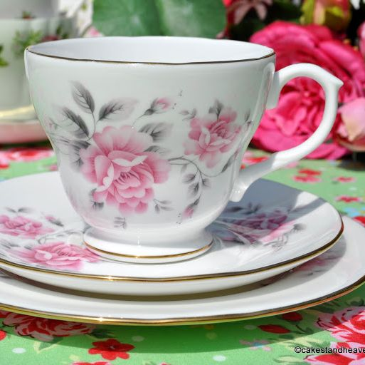 Duchess Pale Pink Rose Vintage Bone China Tea Cup Trio