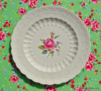 Spode's Billingsley Rose 27cm Embossed Creamware Plate c.1940s