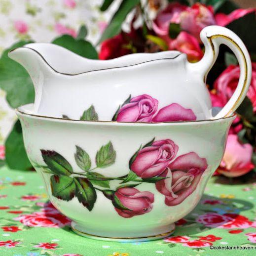 Royal Vale Pink Rose Bone China Vintage Milk Jug & Sugar Bowl