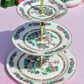 Regency Indian Tree Vintage Bone China 3 Tier Cake Stand