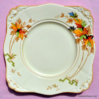 Tuscan Art Deco Hand Painted Leaf Pattern Cake Plate
