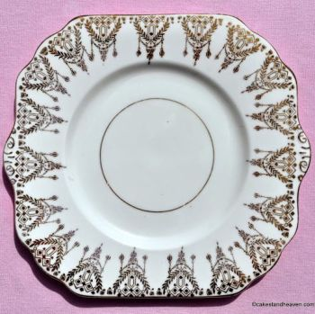 Gladstone Art Deco Bone China Gold Filgree Cake Plate c.1920s