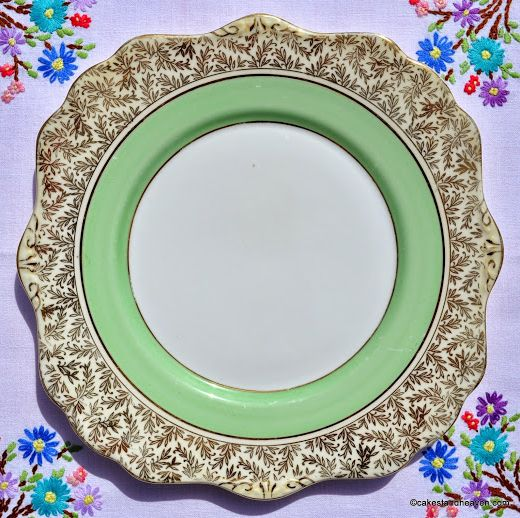 Royal Stafford Gold and Green 1950s Cake Plate