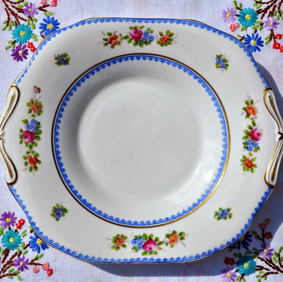 Crown Chelsea Hand Painted Floral Bone China Cake Plate c.1928