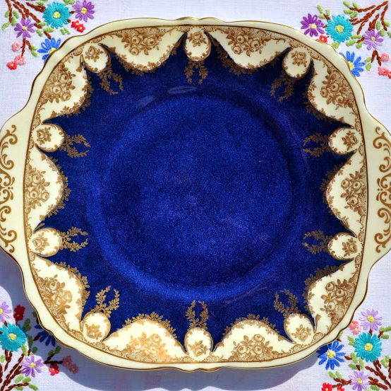 Antique Crown Staffordshire Blue and Gold China Cake Plate c.1906+