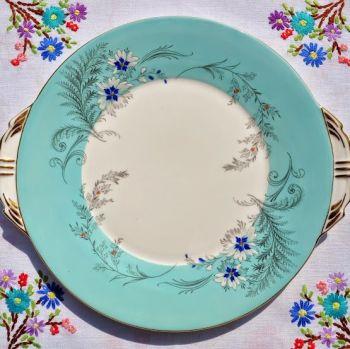 Aynsley Vintage Duck Egg Blue Cake Plate with Enamelled Flowers