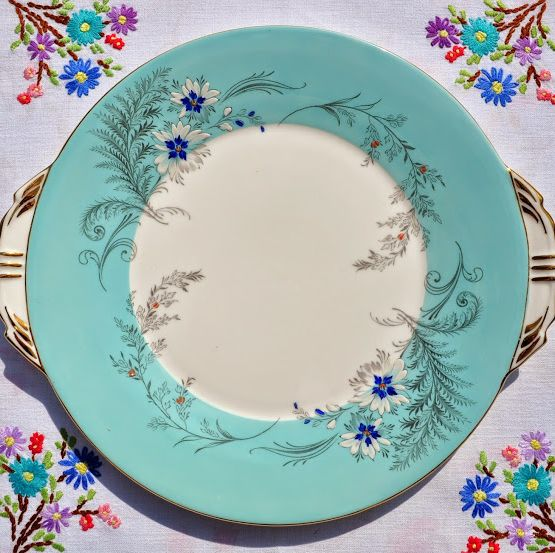Aynsley Vintage Duck Egg Blue Cake Plate with Enamelled Flowers