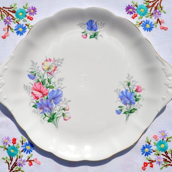 Royal Albert Sweet Pea Vintage China Cake Plate c.1950s