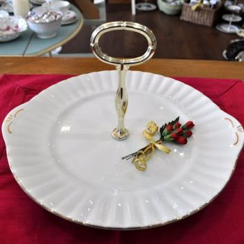 White Hostess Cake Serving Plate c.1970+