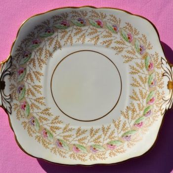 Royal Stafford Hand Painted Vintage China 10 Piece Cake Plate Set