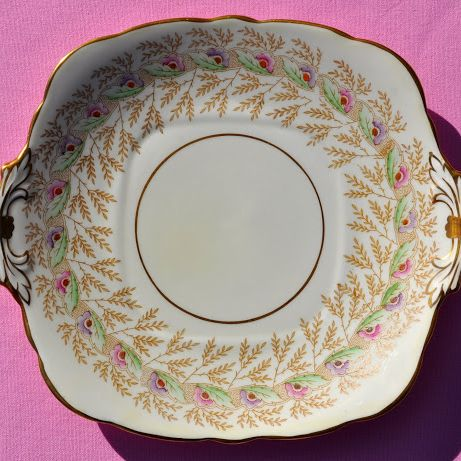 Royal Stafford Hand Painted Vintage China 10 Piece Cake Plate Set - Stock 1