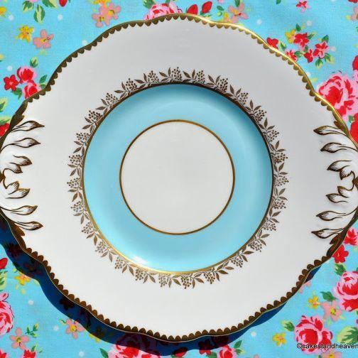 Salisbury Sky Blue and Gold Eared Vintage Cake Plate