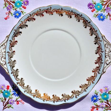 Royal Standard Blue and Gold Border Vintage Cake Plate